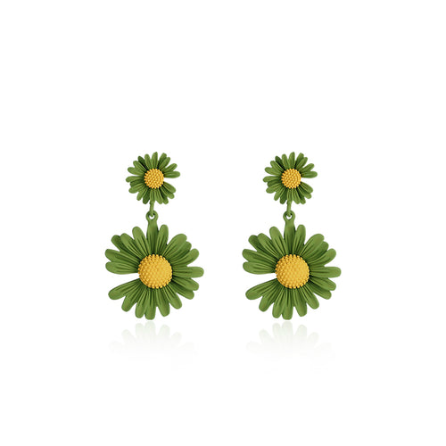 Doubled Green Daisy Layered Earrings