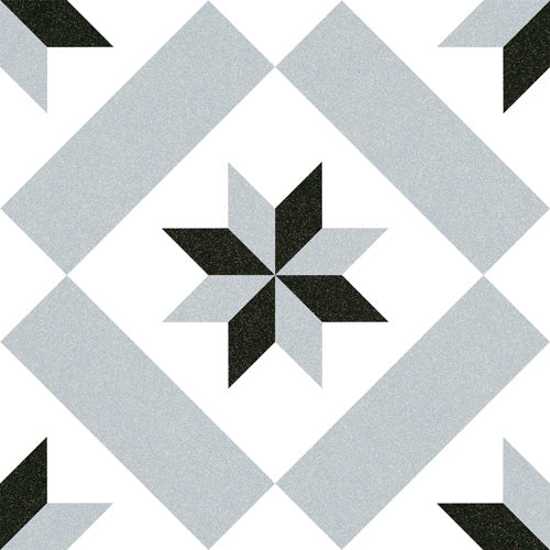 Floor tiles. Encaustic cement tiles look. Calvet gris 7.87x7.87