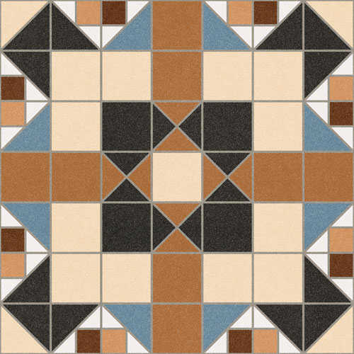 Floor tiles. Ceramic heritage look. Merton marron 12.2x12.2
