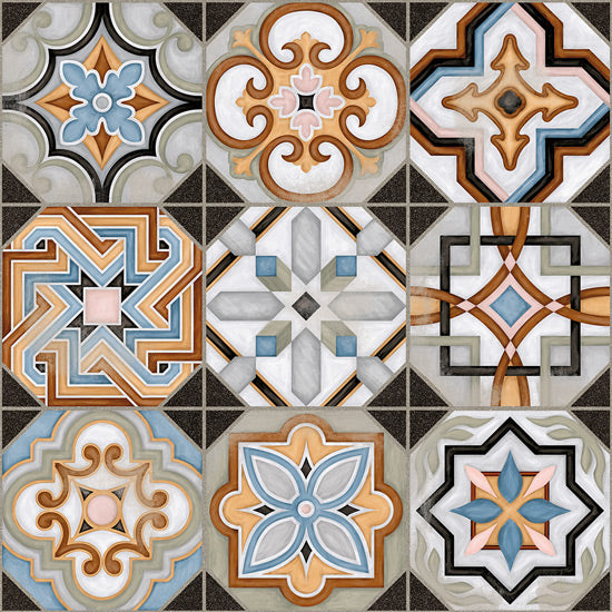 Floor tiles. Ceramic heritage look. Central 12.2x12.2