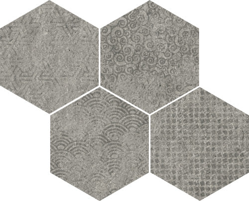 Porcelain tiles. Concrete look. Mosaico bys-sp grafito 13.78x11.02