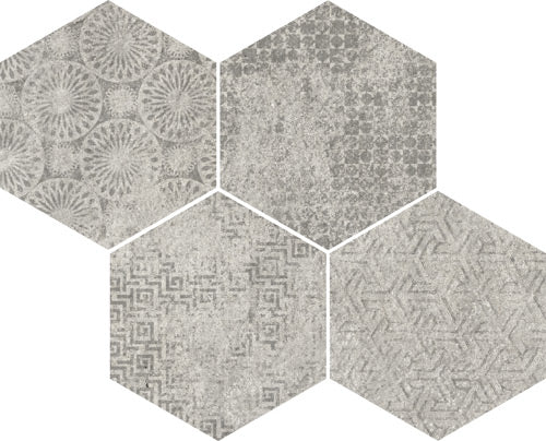 Porcelain tiles. Concrete look. Mosaico bys-sp gris 13.78x11.02