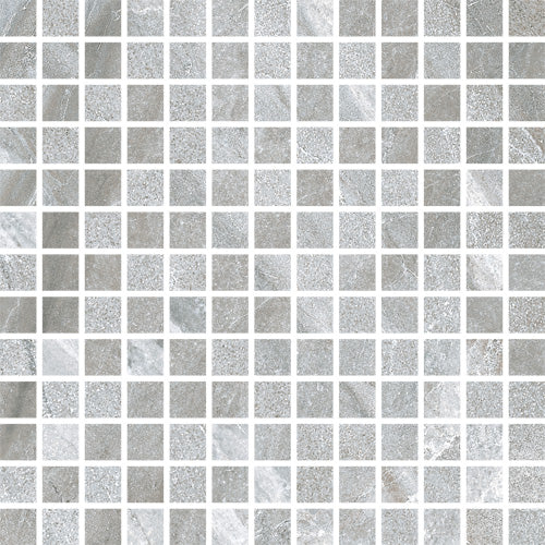 Porcelain tiles. Stone look. Mosaico grey natural 11.81x11.81