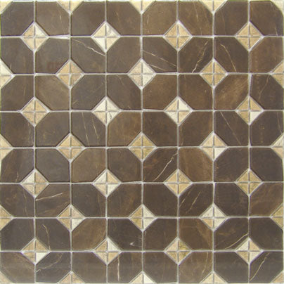Porcelain tiles. Mosaics look. Iliada-pr marron 16.93x16.93
