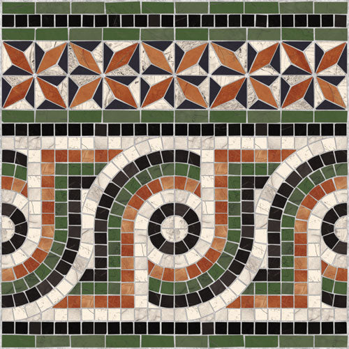 Porcelain tiles. Mosaics look. Cenefa nola-pr multicolor 16.93x16.93