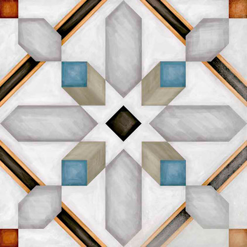 Porcelain tiles. Encaustic cement tiles look. Demel multicolor 7.87x7.87