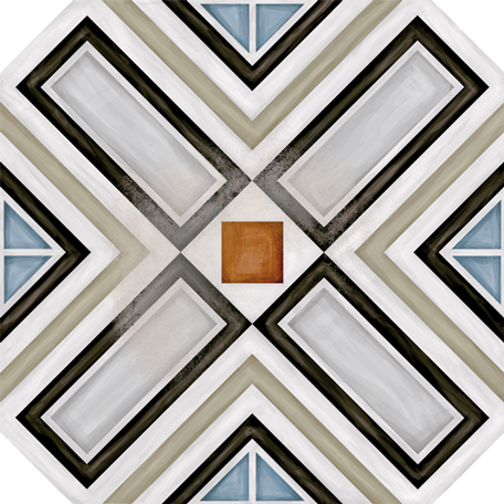 Porcelain tiles. Encaustic cement tiles look. Octógono ritter multicolor 7.87x7.87