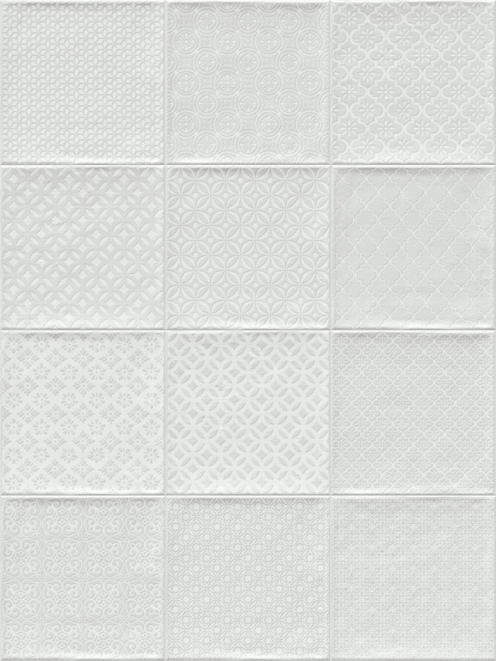 Wall tiles. Ceramic heritage look. Bugis blanco 7.87x7.87