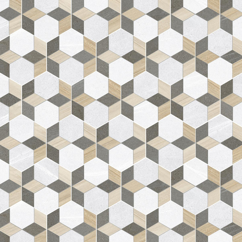Porcelain tiles. Encaustic cement tiles look. Hexágono mayeix multicolor 9.06x10.24