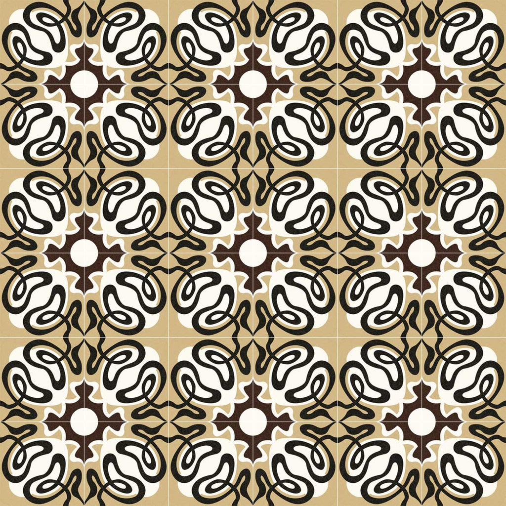 Porcelain tiles. Encaustic cement tiles look. Suanzes-r pardo 7.87x7.87