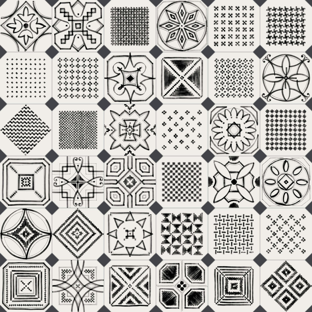 Porcelain tiles. Encaustic cement tiles look. Octógono variette sombra 7.87x7.87