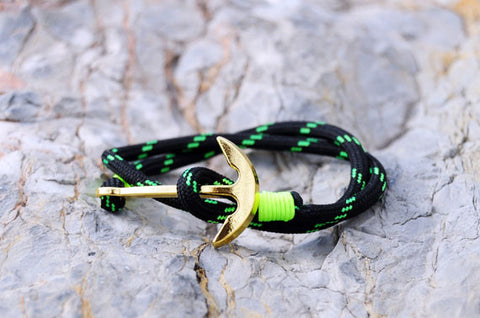 18K Gold Plated Anchor Green Bracelet