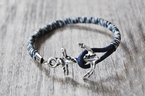 Black&White Leather Anchor Bracelet