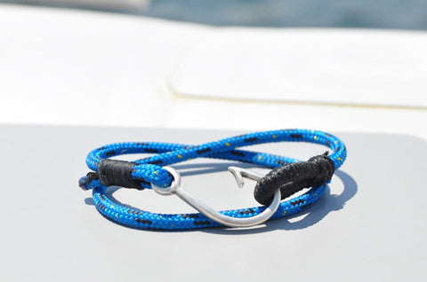 Blue & Black Fish Hook Bracelet