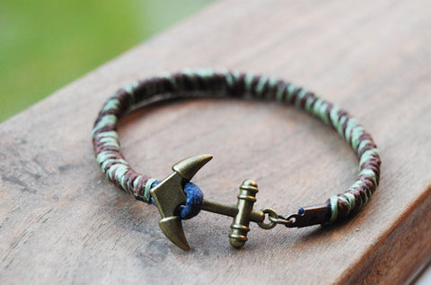 Brown & Green Leather Anchor Bracelet