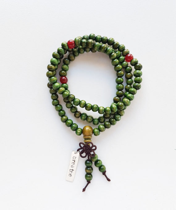 Green Mala Beaded Silver Necklace/Bracelet