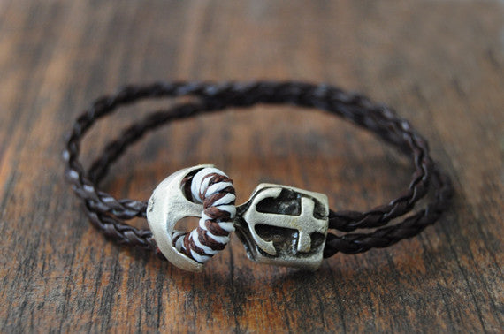 Nautica Brown Leather Bracelet - beadsandsails