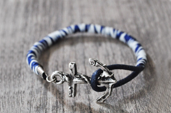 Navy & White Leather Anchor Bracelet - beadsandsails