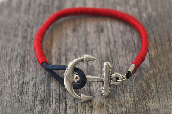 Red Leather Anchor Bead Bracelet - beadsandsails