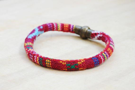 Pink Lined Boho Bangle - beadsandsails