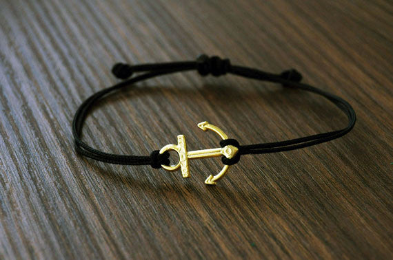 Gold Plated Little Anchor Bracelet - beadsandsails