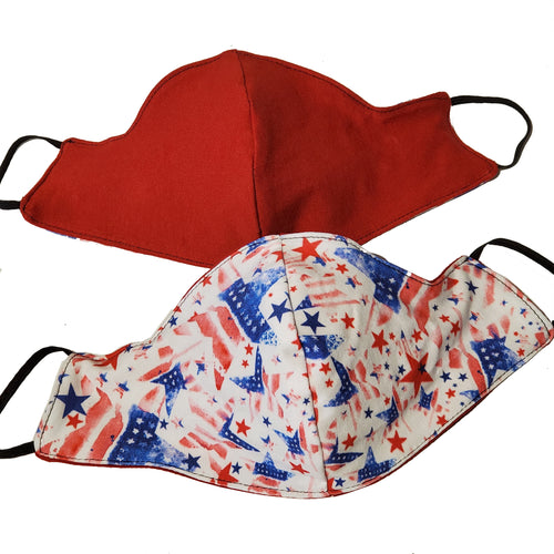 Patriotic Stars and Stripes Triple Layer Face Mask
