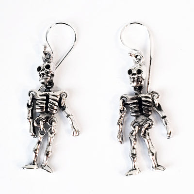Skeleton Sterling Silver Drop Earrings