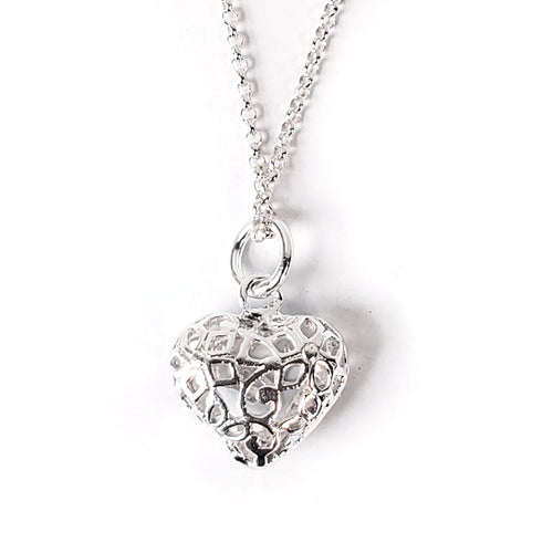 Puffy Heart .925 Sterling Silver Necklace
