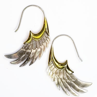 Carved Gray Shell Wing Earrings .925 Sterling Silver Hook Boho Chic Jewelry Gift