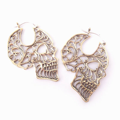 Skull Hoop Earrings in Brass with .925 Sterling Silver Hook Gothic Jewelry Gift