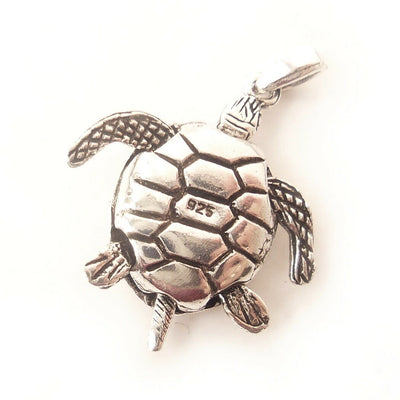 Turtle .925 Solid Sterling Silver 3D Pendant Nautical Charm Gift for Ocean Lover