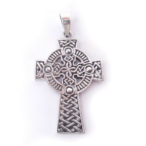 Celtic Infinity Knot Cross .925 Sterling Silver Pendant Charm Confirmation Gift