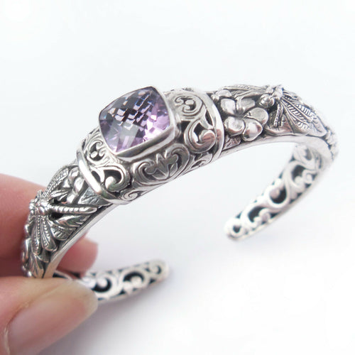 Amethyst Bracelet Solid .925 Sterling Bali Silver Dragonfly Cuff Jewelry Gift