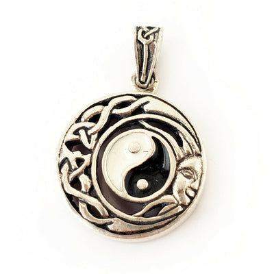 Yin Yang Amulet .925 Sterling Silver Pendant Celtic Knot Charm Gift for Yoga Mom