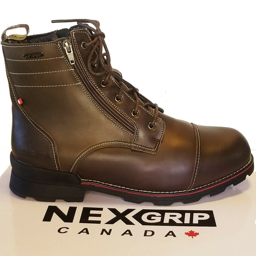 NexGrip Olive Brown Waterproof Mens Snow Boot with Retractable Ice Cleats NEXX