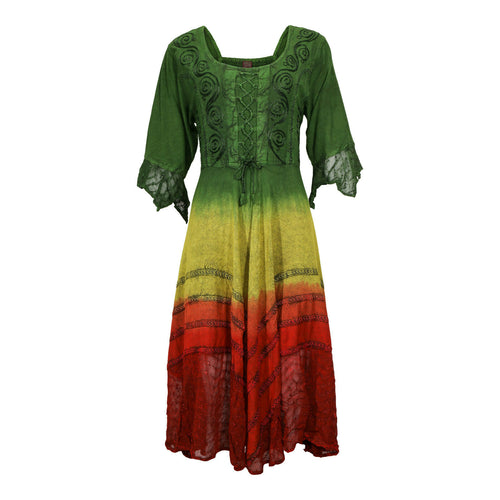 Green Yellow Red Embroidered Renaissance Festival Dress Flowy Rayon Party Gown