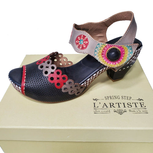 L'Artiste Black Red White High Heel Sandal Boho Chic Shoe Jive
