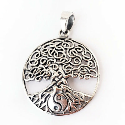 Yin Yang Tree of Life .925 Sterling Silver Pendant Celtic Knot Graduation Gift