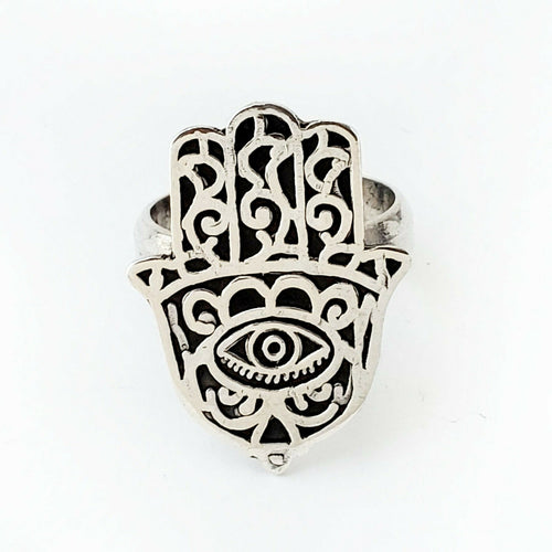 Sz 8-10 Hamsa Ring 925 Sterling Silver Hand of Fatima Khamsa Protect Charm Gift