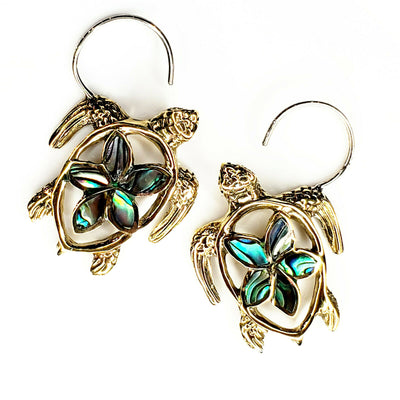 Turtle Carved Abalone Shell Earrings .925 Sterling Silver Hook Boho Beach Gift