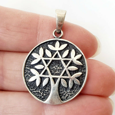 Star of David Tree of Life .925 Sterling Silver Pendant Bat Mitzvah Amulet Gift