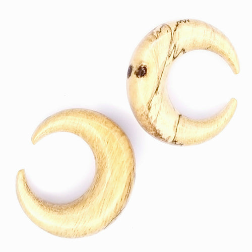 Carved Wood Real Gauge Earrings U-Shape Crescent Moon Size 4mm, 8mm, 12mm