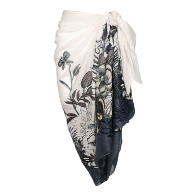 Black White Floral Embroidered Cotton Sarong Boho Beach Wrap Gypsy Bikini Cover