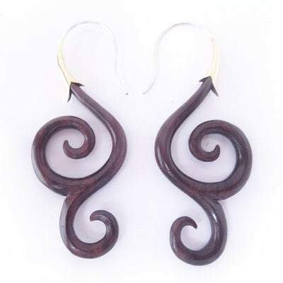 Carved Wood Spiral Drop Earrings with .925 Sterling Silver Hook