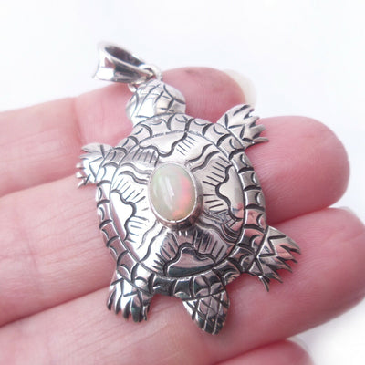 Turtle Opal .925 Sterling Silver Pendant October Birthstone Gift Beach Charm