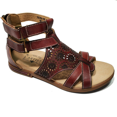 L'Artiste Brown Leather Gladiator Sandal Flat Shoes Dezra Sz 37 38 39 40 41 42