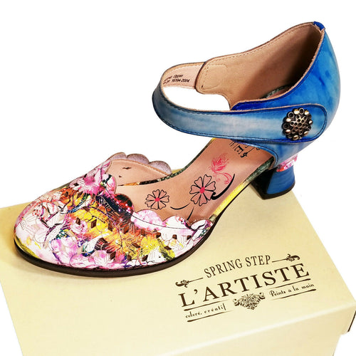 L'Artiste Floral Leather High Heel