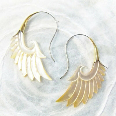 Carved Shell Wing Earrings on .925 Sterling Silver Hook Boho Chic Jewelry Gift