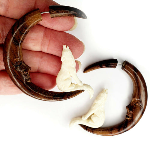 Wolf Howling At Moon Split Gauge Hoop Earrings Jewelry Gift Halloween Costume