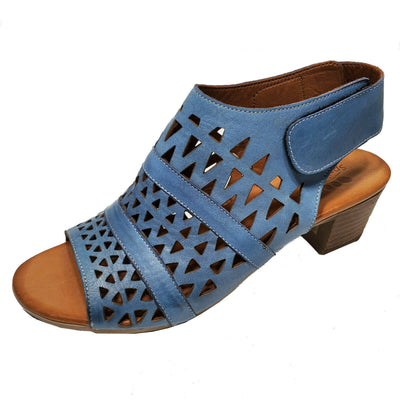 Spring Step Blue Leather High Heel Sandal Boho Chic Shoes Sz 38 39 40 41 42